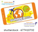 time to travel. cell phone... | Shutterstock .eps vector #677410732