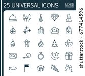 holiday icons set. collection... | Shutterstock .eps vector #677414596