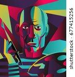 great spanish painter pablo... | Shutterstock .eps vector #677415256