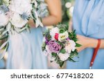 wedding bouquet from pink roses | Shutterstock . vector #677418202