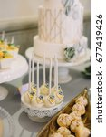 sweet bar with white balls    Shutterstock . vector #677419426