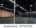 loft big empty interior of the... | Shutterstock . vector #677437255