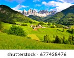 panorama val di funes italy | Shutterstock . vector #677438476