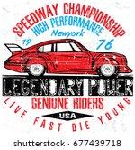 vintage race car for printing... | Shutterstock .eps vector #677439718