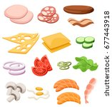 burgers set. ingredients  buns  ... | Shutterstock .eps vector #677443918