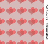 simple hearts seamless vector... | Shutterstock .eps vector #677449192