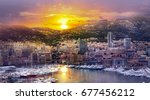 monaco at sunset. main marina... | Shutterstock . vector #677456212