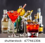 colorful drink on the... | Shutterstock . vector #677461306