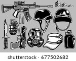 military objects set | Shutterstock .eps vector #677502682