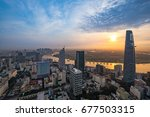 colourful sunrise city with... | Shutterstock . vector #677503315
