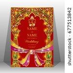 luxury wedding invitation card... | Shutterstock .eps vector #677513842