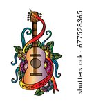 hand drawn guitar with floral... | Shutterstock .eps vector #677528365