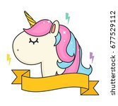 unicorn head with banner in... | Shutterstock .eps vector #677529112