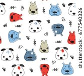 seamless pattern with dogs ... | Shutterstock .eps vector #677540326