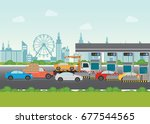 driver cars passing through to... | Shutterstock .eps vector #677544565