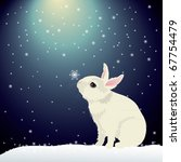 Stock vector cute bunny in snow 67754479