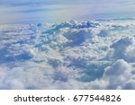view from airplane window. | Shutterstock . vector #677544826