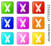 pencils icons of 9 color set... | Shutterstock .eps vector #677555512