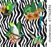 floral pattern tropical zebra ... | Shutterstock . vector #677562856