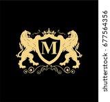 letter m elegant logo with two... | Shutterstock .eps vector #677564356