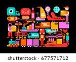 shipping service vector... | Shutterstock .eps vector #677571712