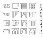set of curtains related vector... | Shutterstock .eps vector #677576272