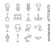 set of lamps related vector... | Shutterstock .eps vector #677576275