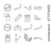 set of smoking related vector... | Shutterstock .eps vector #677576302