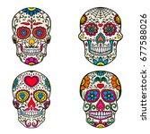 Set Of Sugar Skulls Isolated O...