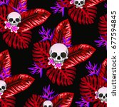 skull leaf pattern | Shutterstock . vector #677594845