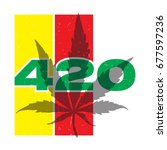 green text 420 with cannabis... | Shutterstock .eps vector #677597236