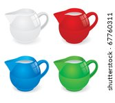 Vector Illustration set of jugs with milk on white - stock vector