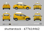 set of hi detailed yellow taxi... | Shutterstock .eps vector #677614462