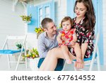 happy little child in white... | Shutterstock . vector #677614552