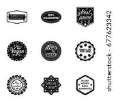label set icons in black style. ...   Shutterstock . vector #677623342