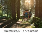 four man and woman walking... | Shutterstock . vector #677652532