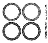 vector set of round tire tracks.... | Shutterstock .eps vector #677661025