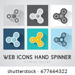 set of flat design icons hand... | Shutterstock .eps vector #677664322