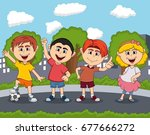 children playing on the street... | Shutterstock .eps vector #677666272