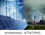polluting industry versus green ... | Shutterstock . vector #677671942