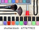 different makeup cosmetics on... | Shutterstock . vector #677677822