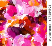 imprints blooming wild rose... | Shutterstock . vector #677684926