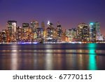 new york city downtown at night ... | Shutterstock . vector #67770115
