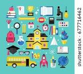 back to school concept set for... | Shutterstock .eps vector #677716462