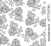 seamless floral hand drawn... | Shutterstock .eps vector #677723782