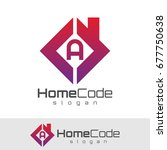 home code initial letter a logo ... | Shutterstock .eps vector #677750638