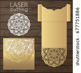 die laser cut wedding card... | Shutterstock .eps vector #677751886