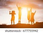 silhouette of a happy children... | Shutterstock . vector #677755942