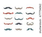 huge set of vector mustache.... | Shutterstock .eps vector #677756062