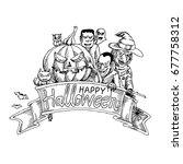 happy halloween with doodle... | Shutterstock .eps vector #677758312